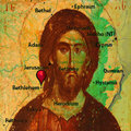 Jesus christ icon of on the old map of judea Royalty Free Stock Images