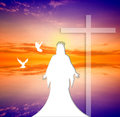Jesus christ an illustration of at sunset Royalty Free Stock Photography