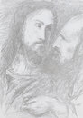 Jesus christ and judas religious scene hand drawn illustration of Stock Image