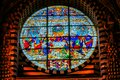 Jesus Christ Last Supper Rose Window Stained Glass Cathedral Church Siena Italy. Royalty Free Stock Photo