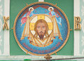 Jesus christ mosaic on the wall of the moscow church of the life giving trinity on vorobyovy hill Stock Image