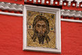 Jesus christ mosaic on the wall of the st daniel monastery moscow russia Stock Photos