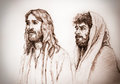 Jesus christ of nazareth and judas portrait Stock Photo