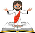 Jesus christ open hands bible gospel isolated cartoon smiling opens his standing on book white eps available Stock Image