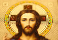 Jesus christ photo of icon of concept of easter soft focus Stock Images