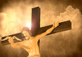 Jesus christ releasing dove cross cloud stone background Royalty Free Stock Photos