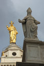 Jesus christ and saint statue sacred heart golden a Royalty Free Stock Photo