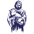 Jesus Christ, Son of God, holding a lamb in his hands, symbol of Christianity hand drawn vector illustration