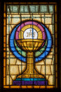 Jesus Christ Symbol in Stained Glass Royalty Free Stock Photo