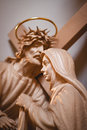 Jesus christ wooden and maria Royalty Free Stock Image