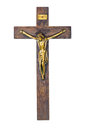 Jesus on cross christ a wooden isolated white background Stock Photo