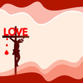 Jesus on the cross is love concept vector illustration Royalty Free Stock Photo