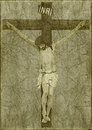 Jesus on the cross photo collage of in brown tones and grunge style with latin word inri at top of Royalty Free Stock Photo