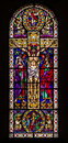 Jesus on the Cross Stained Glass Window Royalty Free Stock Photo