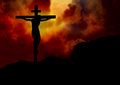 Jesus cross sunset background Stock Images