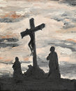 Jesus crucified on golgotha oil painting illustrating religious scene Royalty Free Stock Photos