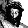 Jesus crucified illustration of the face of Royalty Free Stock Photos
