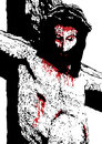 Jesus crucified illustration of the face of Stock Photos