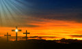 Jesus easter cross three crosses at sunset representing the crucifixion of Royalty Free Stock Photos