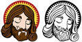 Jesus Face Set Royalty Free Stock Photos