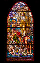 Jesus and fishermen stained glass window showing asking the to join him evangelism concept catholic church auvernier switzerland Stock Photo