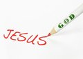 Jesus is god a labeled pencil writing the word Royalty Free Stock Photos