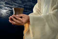 Jesus Hands Holding Cup Stock Photo