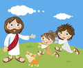 Jesus and kids playing with the cat Stock Photos