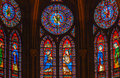 Jesus Mary Angels King Stained Glass Notre Dame Paris France Royalty Free Stock Photo