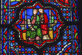 Jesus Mary Joseph Stained Glass Sainte Chapelle Paris France Royalty Free Stock Photo