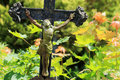 Jesus on the old village cemetery czech republic Stock Photo
