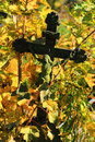 Jesus on the old village cemetery czech republic in colorful autumn nature from Stock Images