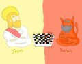Jesus and satan board of game playing a chess Royalty Free Stock Photo