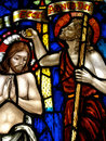 Jesus in stained glass artwork a church Royalty Free Stock Photos