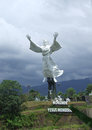 Jesus statue minahasa sulawesi in the clouds near manado in north indonesia Stock Image