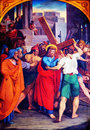 Jesus takes the cross calvary second station up his painting from michaels church vienna Royalty Free Stock Image