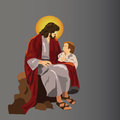 Jesus talking to a small child Royalty Free Stock Photos