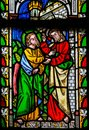 Jesus to Saint Thomas: Stop doubting, but believe - Stained Glas Royalty Free Stock Photo