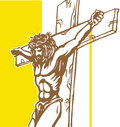 Jesus with vatican background yellow Royalty Free Stock Photo
