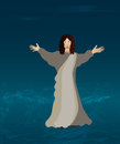 Jesus walking on the water christ walks Royalty Free Stock Photos