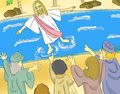 Jesus Walks On The Water Illustration