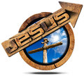 Jesus Wooden Sign with Arrow and Cross Royalty Free Stock Photo