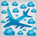 Jet airliner in the air with blue cloud Royalty Free Stock Photo