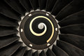Jet blade close up of a commercial aircraft s engine Royalty Free Stock Images
