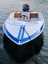 Jet boat a white blue on the aegean sea Stock Image