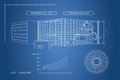 Jet engine in a outline style. Industrial vector blueprint. Part