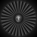 Jet engine turbine blades illustration on black Stock Photo