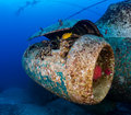 Jet engine of an underwater aircraft wreck corroding remains a on Royalty Free Stock Photos