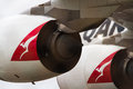 Jet engines of qantas airbus A380 Royalty Free Stock Photography