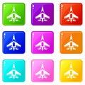Jet fighter plane set 9 Royalty Free Stock Photo